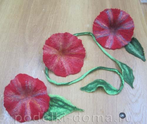 cvety iz shersti valyanie