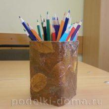 Осенняя карандашница и открытка «Золотая осень»