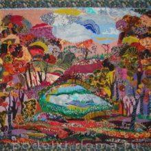 «Осенняя пора» — картина в технике лоскутной живописи
