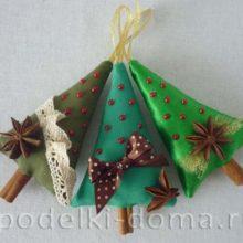 Ёлочки из ткани с ароматом корицы и бадьяна