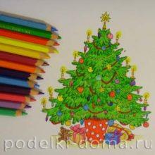 Как нарисовать новогоднюю елку. Пошаговый мастер-класс