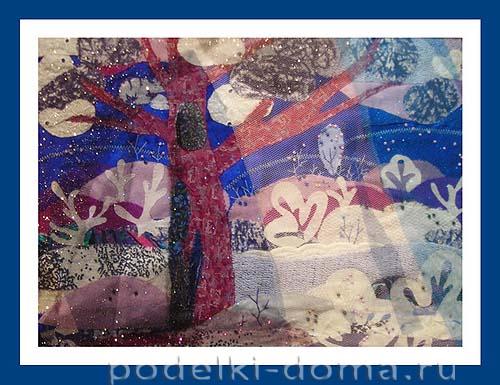 kartina iz tkany volshebnica zima14