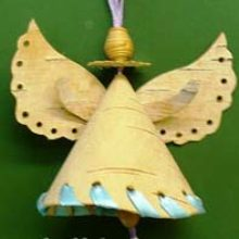 «Колокольчик «Рождественский Ангелочек» из бересты