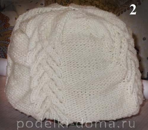 Вязаная шапка на подкладе из флиса
