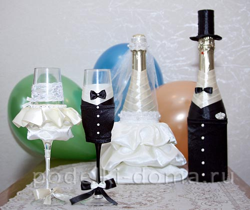 Чем украсить шампанское на свадьбу