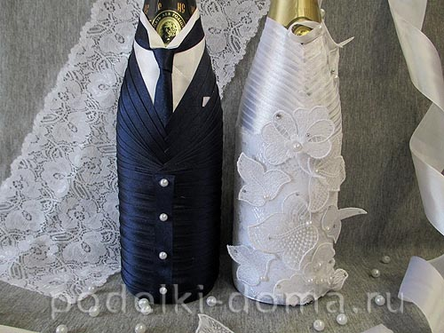 Как украсить бутылку шампанского лентами на свадьбу