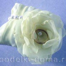 Пошаговый мастер-класс пошива подушечки для колец с цветком из шифона