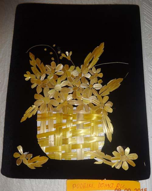 applikaciya iz solomki korzina cvetov