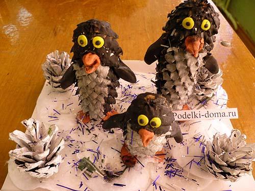 pingviny iz shishek