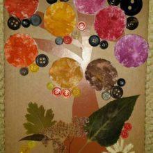 Картина-аппликация из ватных дисков «Осень»