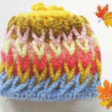 Детская шапочка крючком «Осенний листопад»