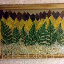 Картина «Осенний лес» (аппликация из листьев)