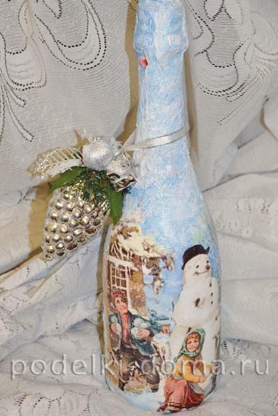 Декупаж бутылки шампанского на Новый год