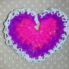 Сердечко из резиночек (плетение без станка)
