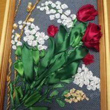 Картина «Весенние цветы», вышивка лентами