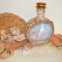 Декор бутылки «Морское дно» своими руками