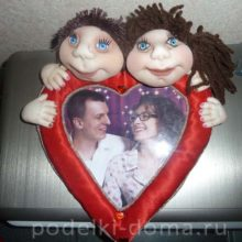 Фоторамка «Сердце» с куклами из капрона