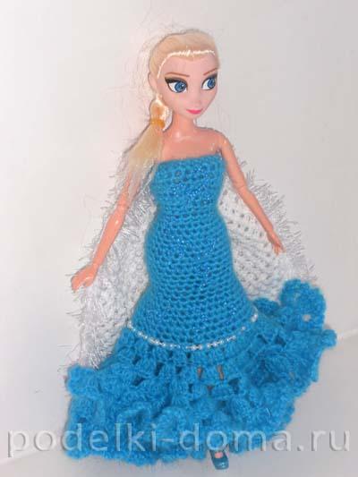 Платье для куклы Эльзы (вязание крючком). Мастер-класс ...