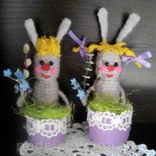 Пасхальные зайчики (подставки для яиц)
