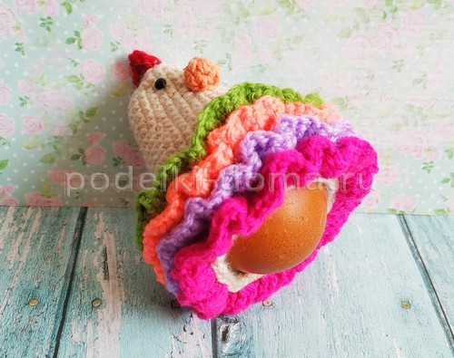 Курочка на пасхальное яйцо (вязание крючком) - 4 МК