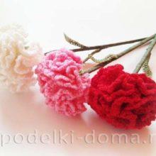 Цветы гвоздики (вязание крючком)