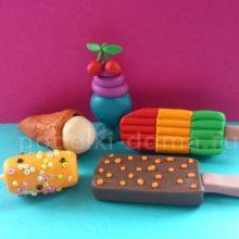 Еда для кукол: мороженое из пластилина