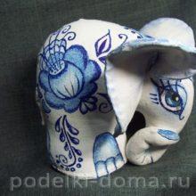 Мягкая игрушка «Слон», роспись «под Гжель»