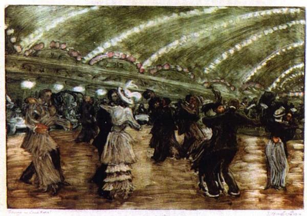 Репродукция 185068 Танго в Луна парке 1914г - Кругликова Елизавета