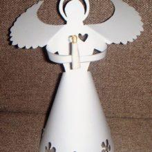 Ангелы из бумаги, белые (описание и трафареты)