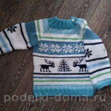 Детский свитер с оленями (вязание спицами)