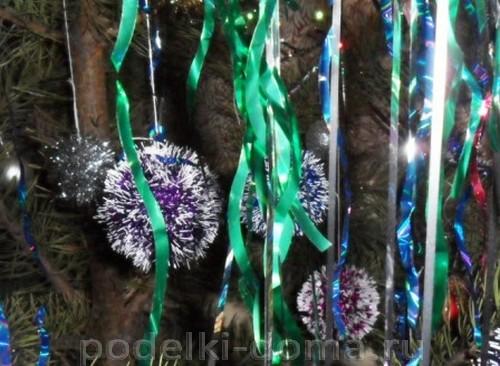shary-iz-mishury10 Новогодние шары своими руками на 2019 год