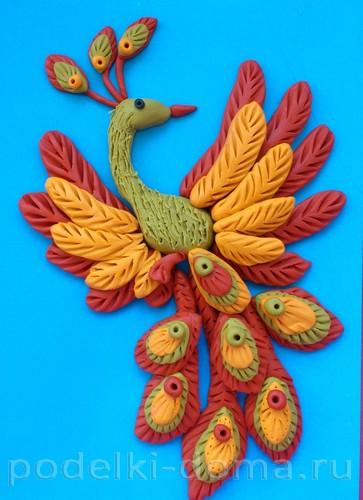 жар-птица, аппликация из пластилина, поэтапно