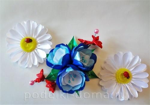 цветы из атласных лент 10