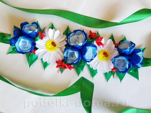 цветы из атласных лент 12