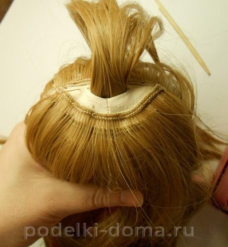 как пришить волосы кукле