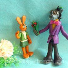 Волк и заяц из «Ну, погоди!» из пластилина