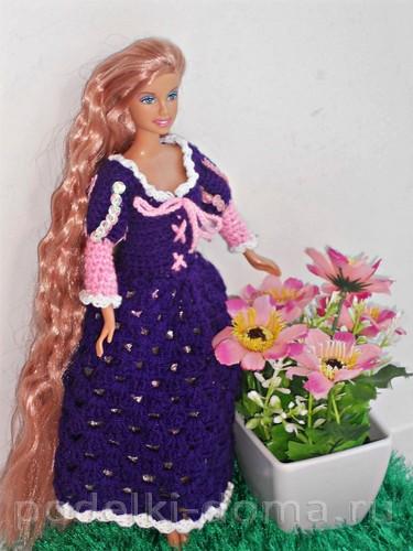 Платье для Барби Рапунцель крючком25