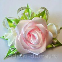 Нежные розы в технике канзаши (заколки, мастер-класс)
