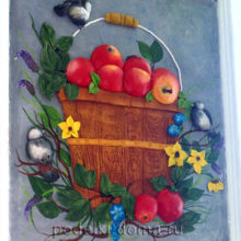 Картина из соленого теста «Ведро яблок»