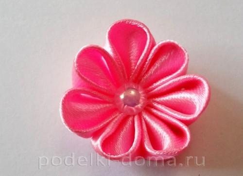 розовый цветок канзаши08