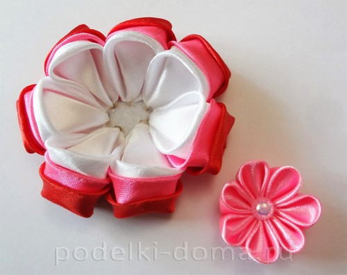 розовый цветок канзаши09