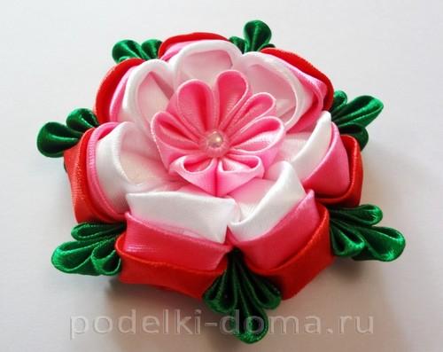 розовый цветок канзаши13