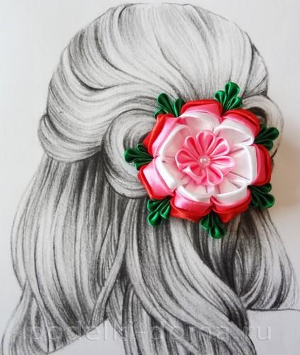 розовый цветок канзаши14