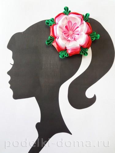 розовый цветок канзаши15