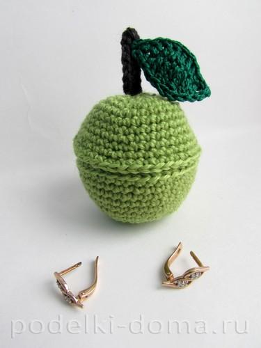 вязаная шкатулка яблоко крючком01