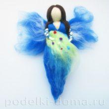 Куколка фея из шерсти в технике сухого валяния
