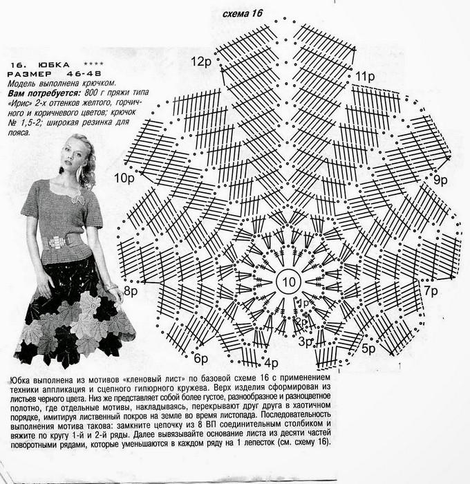 кленового листа вязаного схема