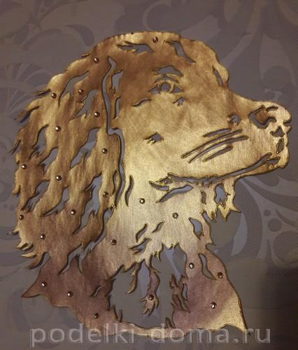 вытынанка собачка золотая