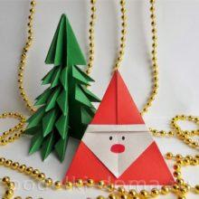 Дед Мороз из бумаги (оригами) — 3 варианта