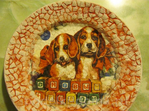 декупаж тарелки собачки 10